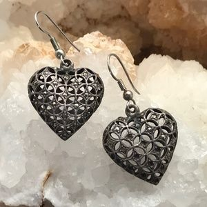 Puffy Marcasite Hearts Earrings